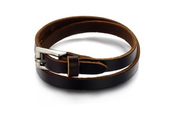 Genuine Leather Wrap Bracelet 1-Leather/Brown