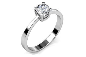 Solitaire Ring IV w/Swarovski Crystals-White Gold/Clear Size US 7