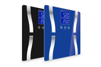SOGA 2 x Digital Body Fat Scale Bathroom Scale Weight Gym Glass Water LCD Blue/Black