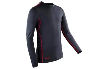 Spiro Mens Sports Compression Bodyfit Long Sleeve Base Layer Top (Black/Red) (XS)