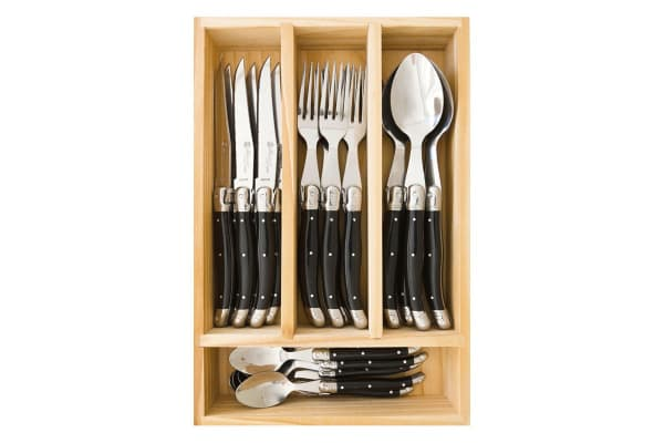 Laguiole by Louis Thiers Toujours 24 Piece Cutlery Set - Black