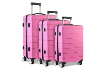 Wanderlite 3PC Luggage Suitcase Trolley Pink