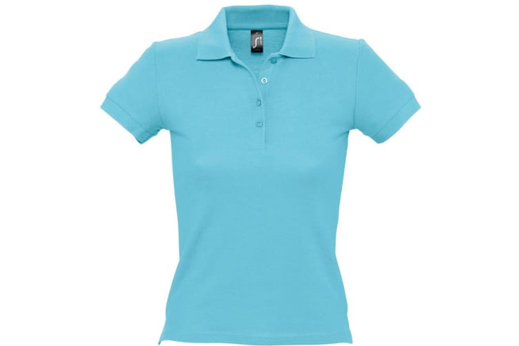 SOLS Womens/Ladies People Pique Short Sleeve Cotton Polo Shirt (Blue Atoll) (S)
