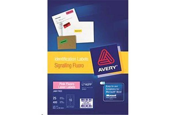 AVERY LABEL PINK L7162-25FP 99.1X34 25 PACK