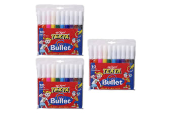 3x 10pc Texta Bullet Tip Colouring Pens Drawing Art Marker Water Based f/ Kids
