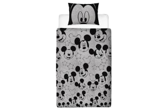 Mickey Mouse Silhouette Panel Duvet Cover Set (Grey) (Single)