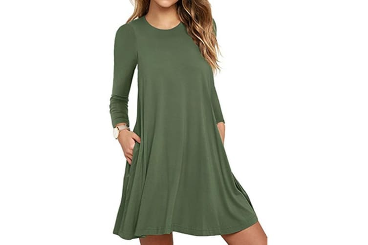 Women's Pockets Dress Casual Swing T-shirt Dresses XXL