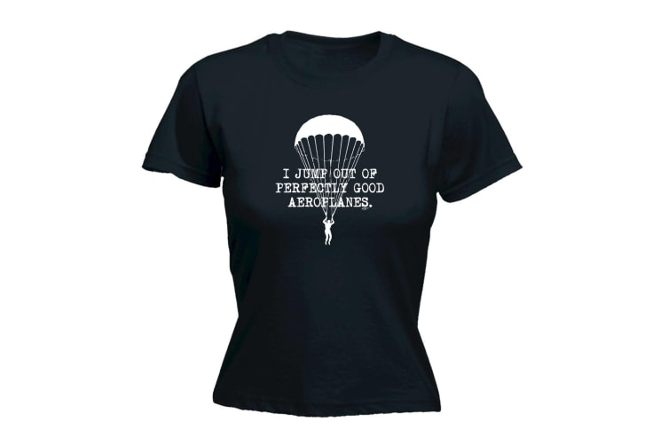 123T Funny Tee - I Jump Out Aeroplanes - (Medium Black Womens T Shirt)