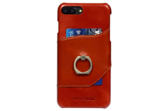 For iPhone 8 PLUS 7 PLUS Case Fierre Shann Ring Holder Genuine Leather Cover Red