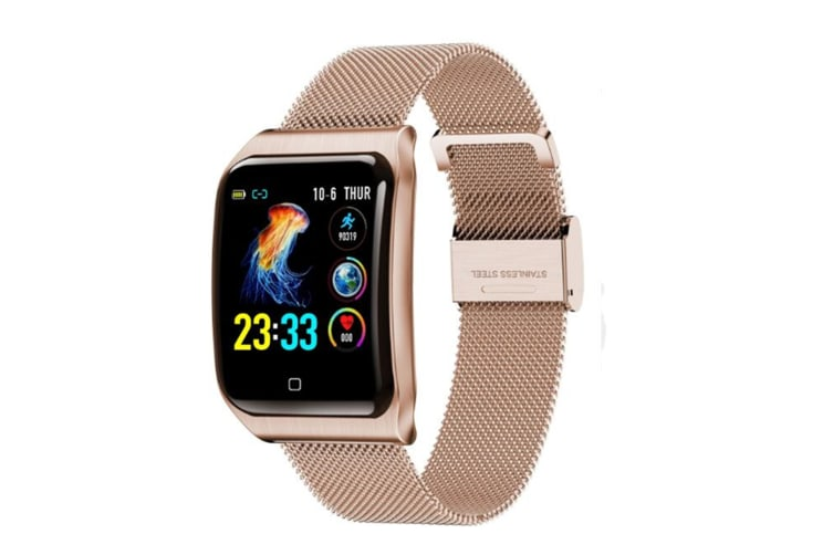WJS 1.3inch Color Screen Blood Pressure Heart Rate Monitor Sport bluetooth Smart Wristband Watch-GOLD