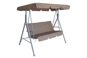 Milano Outdoor Swing Bench Seat Chair Canopy Furniture 3 Seater Garden Hammock - Coffee
