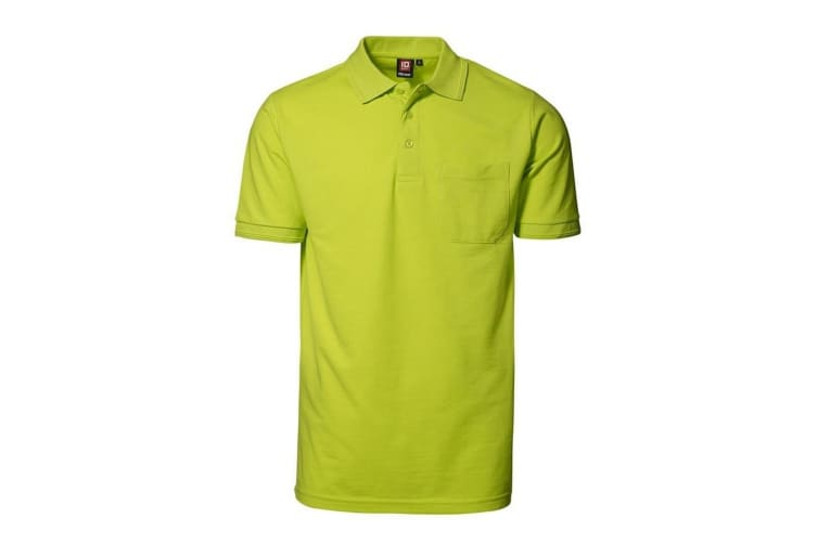 ID Mens Pro Wear Short Sleeve Regular Fitting Polo Shirt With Pocket (Lime) (M)