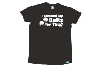 Out Of Bounds Golf Tee - I Cleaned My Balls For This - (Medium Black Mens T Shirt)