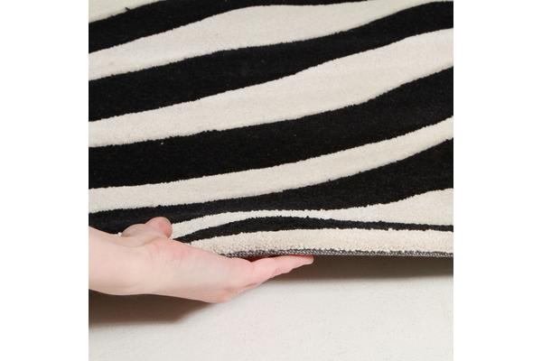 Zebra Deluxe  Black And White Round Rug 200x200cm
