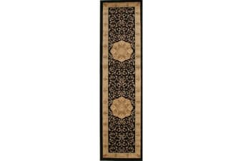 Medallion Classic Pattern Runner Rug Black