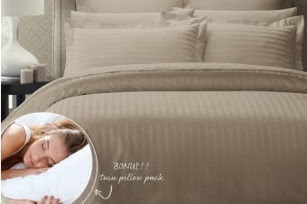 Royal Comfort 1200 Thread Count Damask Stripe Cotton Blend Quilt Cover Set + Goose Pillow Twin Pack (Queen, Pewter)