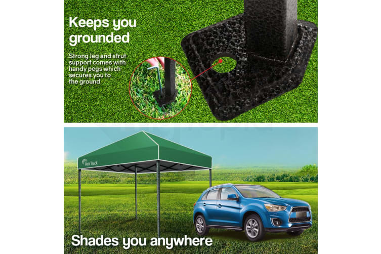 Red Track 3x3m Folding Gazebo Shade Outdoor Pop-Up Black Foldable Marquee