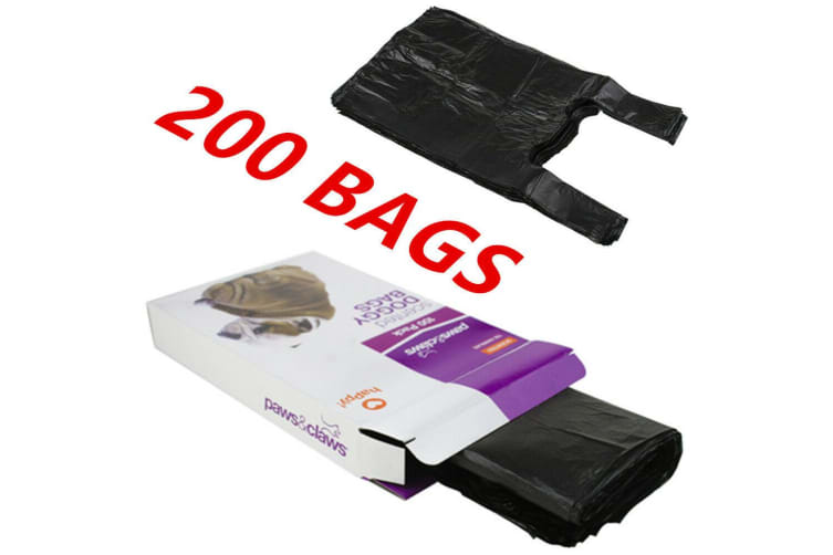 200 x SCENTED DOG PUPPY POO POOP LITTER WASTE CLEAN UP DISPOSAL BAGS BLACK TIE HANDLES