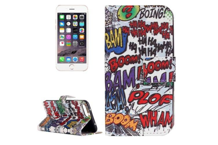 For iPhone 8 PLUS 7 PLUS Wallet Case Street Graffiti Protective Leather Cover