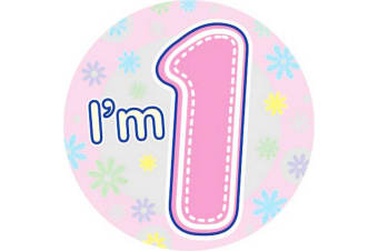 Expression Factory Childrens Girls I Am 1 Today Giant Badge (Pink)