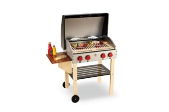 Wooden Kitchen Pretend Play BBQ Set Toy Kids Toddlers Cooking Home Children Food