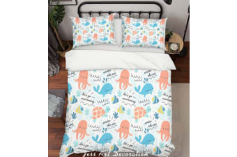 3D Cartoon Octopus Dolphin Quilt Cover Set Bedding Set Pillowcases 142-King