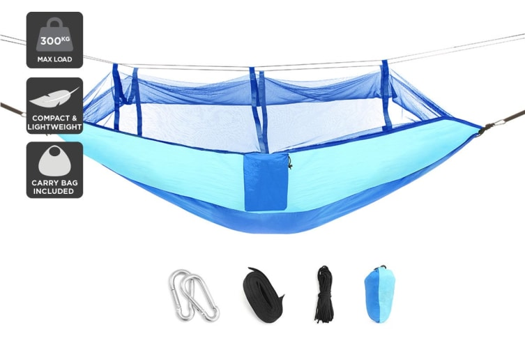 Komodo Ultra-light Hammock with Mosquito Net (Blue)