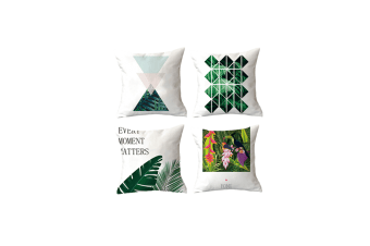 4Pcs Plant Printing Decorative Upholstery Cushion Cover Cozy Throw Pillow Cases Green 4Pcs