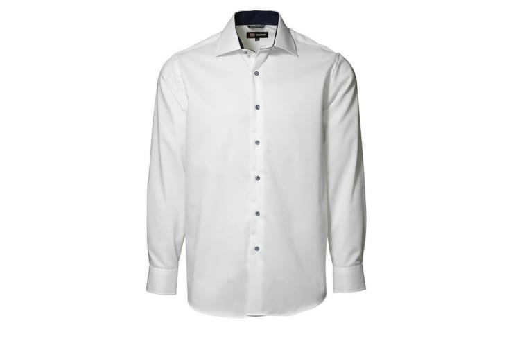 ID Mens Classic Easy Iron Contrast Long Sleeve Regular Fitting Formal Shirt (White) (39/40)