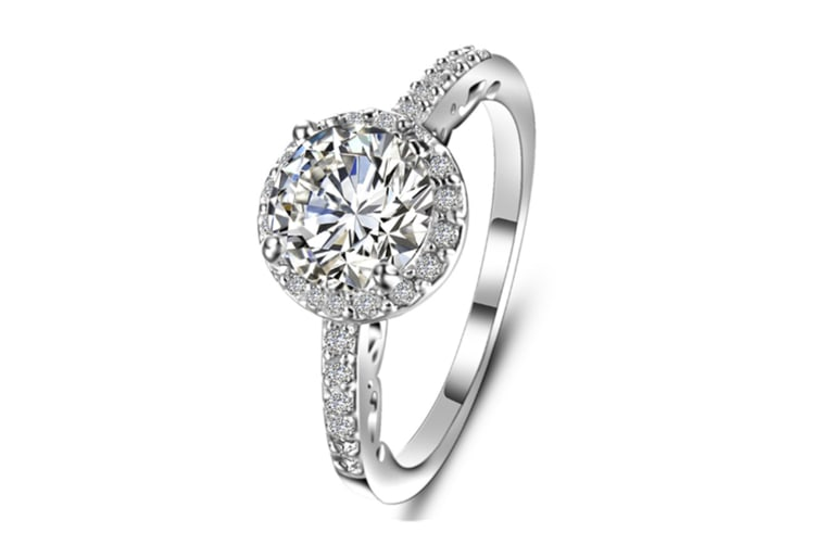 Halo Set Solitaire Cubic Zirconia Simulated Gemstone Ring