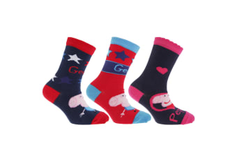 Childrens/Kids Peppa Pig Socks (Pack Of 3) (Design 2)