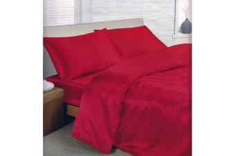 Charisma Satin Bedding Set (Duvet Cover  Fitted Sheet & Pillowcases) (Red) (Single Bed)