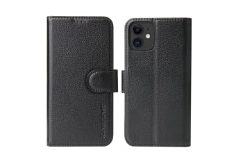 For iPhone 11 Case iCoverLover Black Genuine Cow Leather Wallet Folio Case