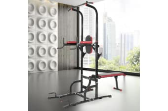 Powertrain Multi Station Pull-up Chin-Up Tower with Exercise Bench