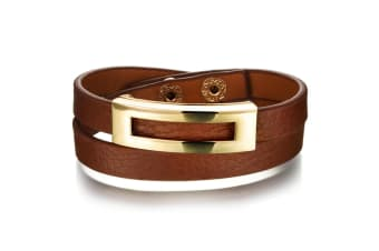 Genuine Cow Leather Wrap Bracelet With 18K Gold Buckle 2-Leather/Brown