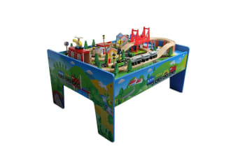 ROVO KIDS Wooden Train Set Table Toy Railway Timber Wood Model Tracks Pretend