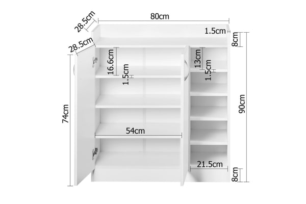 2 Doors Shoe Cabinet Storage Cupboard (White)
