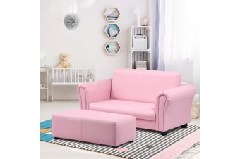 Kidbot Kids 2 Seater Sofa Couch Armchair Children Lounge Chair Double w/Footstool - Pink