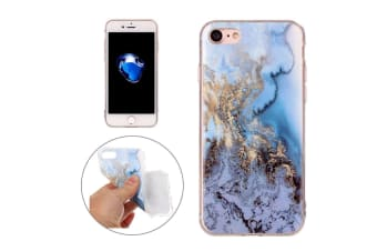 For iPhone 8 7 Case Stylish Marble Textured Durable Protective Cover Blue