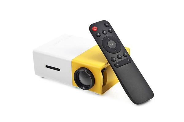 600 Lumens Mini Led Home Theatre Projector Full Hd 1920X1080 Portable Yellow