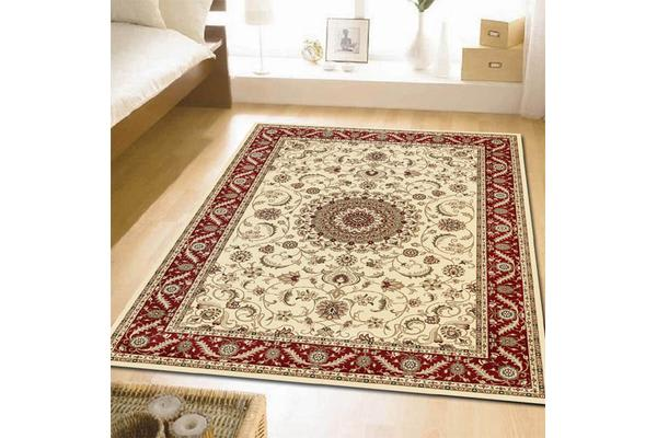 Medallion Rug Ivory with Burgundy Border 330x240cm