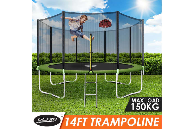Genki 14ft Round Outdoor Trampoline Set with Safety Enclosure & Basketball Hoop Set & Ladder 150KG