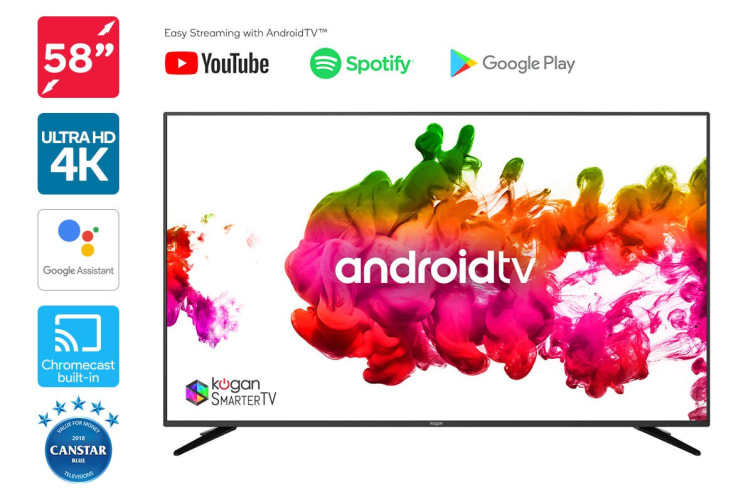 "Kogan 58"" 4K LED SmarterTV™ ( Android TV™, Smart TV )"