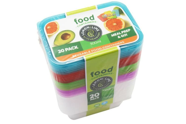 60 x 300ML Food Containers Colored Lid 300ML BPA Free Plastic Meal Storage Take Away