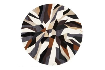 Crossroads Designer Wool Rug Brown White Grey Round Rug