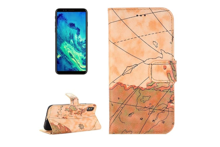 For Iphone Xs X Wallet Case Map Texture Flip Protective Leather Cover Brown