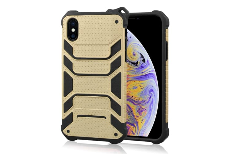 For iPhone XS Max Cover Shockproof Dustproof Strong Armour Phone Case Gold