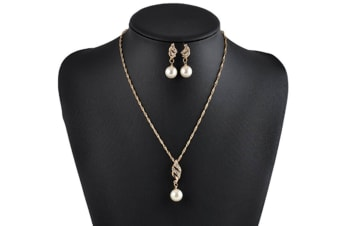 Elegant Cz With Bold Soft Cream Pearl Drops Earrings And Necklace Set Brides Wedding Jewelry Gold