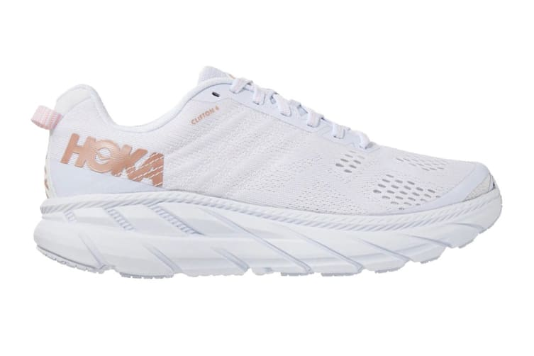Hoka One One Women's Clifton 6 Running Shoe (White/Rose Gold, Size 6.5)