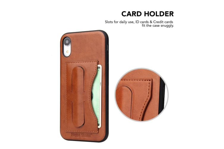 For iPhone XR Case Brown Luxury Leather Back Shell Cover